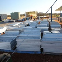 Boxes of diamond-drilled core from the Nolans Bore rare-earth deposit, Northern Territory, Australia.