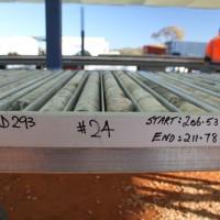 Diamond-drilled core, Nolans Bore rare-earth project, Northern Territory, Australia.
