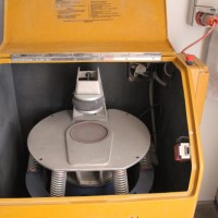 Equipment for pulverising mineral samples, at the Nolans Project, Northern Territory, Australia.