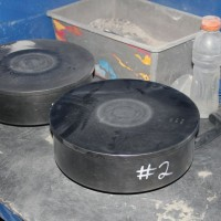Bowls for preparing mineral samples in the on-site prep lab, at the Nolans Project, Northern Territory, Australia.