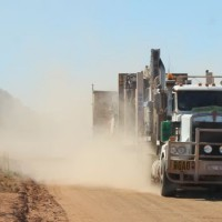 A road train arrives at the Nolans Project site, in the Northern Territory, Australia, bringing an additional diamond drilling rig.